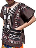 RaanPahMuang Branded Childrens African Dashiki Short Sleeve Shirt In Colours, 3-6 Years Tall, Cafe Noir Brown
