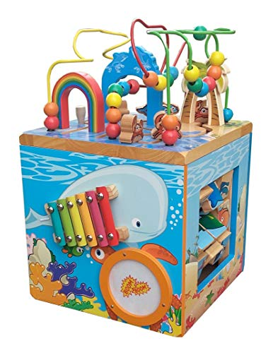 (Under The Sea Adventures, Deluxe Activity Wooden Maze Cube - Perfect for Kids Play, Musical Activity, and Toddlers Early Developmental Skills)