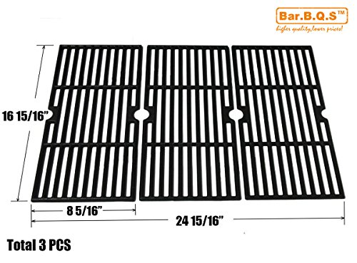 Thermos Gas Grill Parts (Bar.b.q.s CI66123 Cast Iron Cooking Grid Set Replacement for Select Gas Grill Models by Kenmore, Charbroil, Thermos, Set of 3)