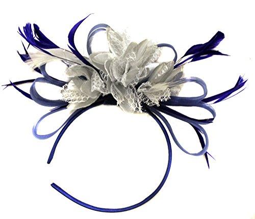 Bleu roi et argentées Net CREOLE PLUME pour Cheveux Serre Tete mariage Royal Ascot courses