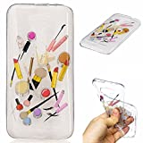 Qiaogle Phone Case - Soft TPU Silicone Case Cover Back Skin for Asus ZenFone 2 Laser 5.0 ZE500KL (5.0 inch) - HC10 / Lip gloss + eyebrow pencil
