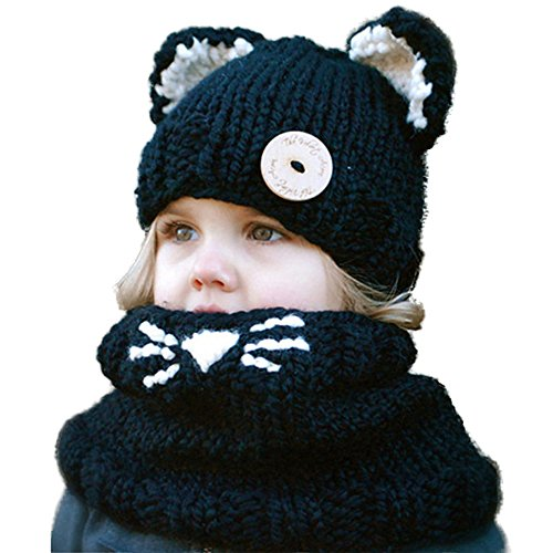 Wua Kids Warm Winter Beanies Baby Knitted Coif Hood Scarf Animal Ear Hats Beanies Caps (Black Kitten) Wool Scarf Hat