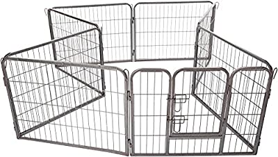 Pet Exercise Pen Tube Gate w/ Door - (8 Panel Playpen) Heavy Duty Folding Metal Out-Door Fence by Paws & Pals