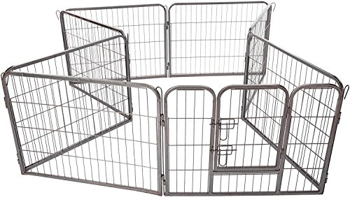 OxGord 8-Panel Metal Fence with Anchors Heavy Duty Pen Tube with Door for Pets, 73 by 73 by 24