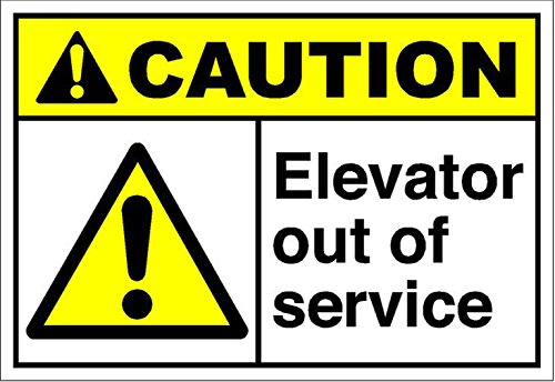 """Elevator Out of Service Caution OSHA/ANSI Vinyl Sticker Decal 8"""" from Vision Signs"""