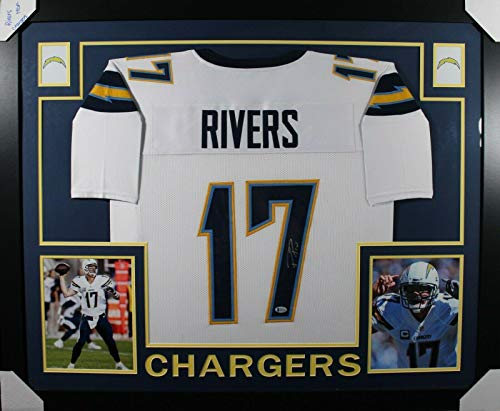 Philip Rivers Signed Jersey - FRAMED WHITE w BECKETT COA - Beckett Authentication - Autographed NFL ()