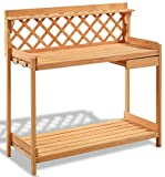 K&A Company Bench Station Potting Work Garden Outdoor Planting Wood Table Storage Patio Solid Construction Shelf Wooden New Yard Gardening With Planter Hook