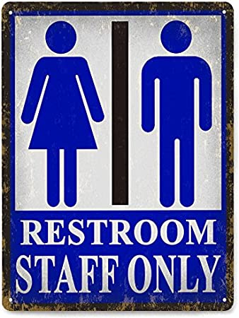 Aluminum Mens Restroom Print Blue Bathroom Picture Office Business Signs Commercial Metal Square Sign 12x12 6 Pack