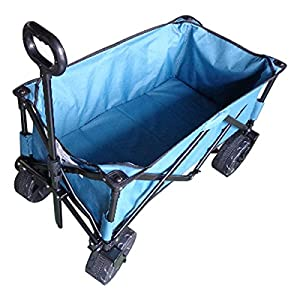 Wagon, Garden Cart, Large Wheels, Collapsible, All Terrains, Gray Blue