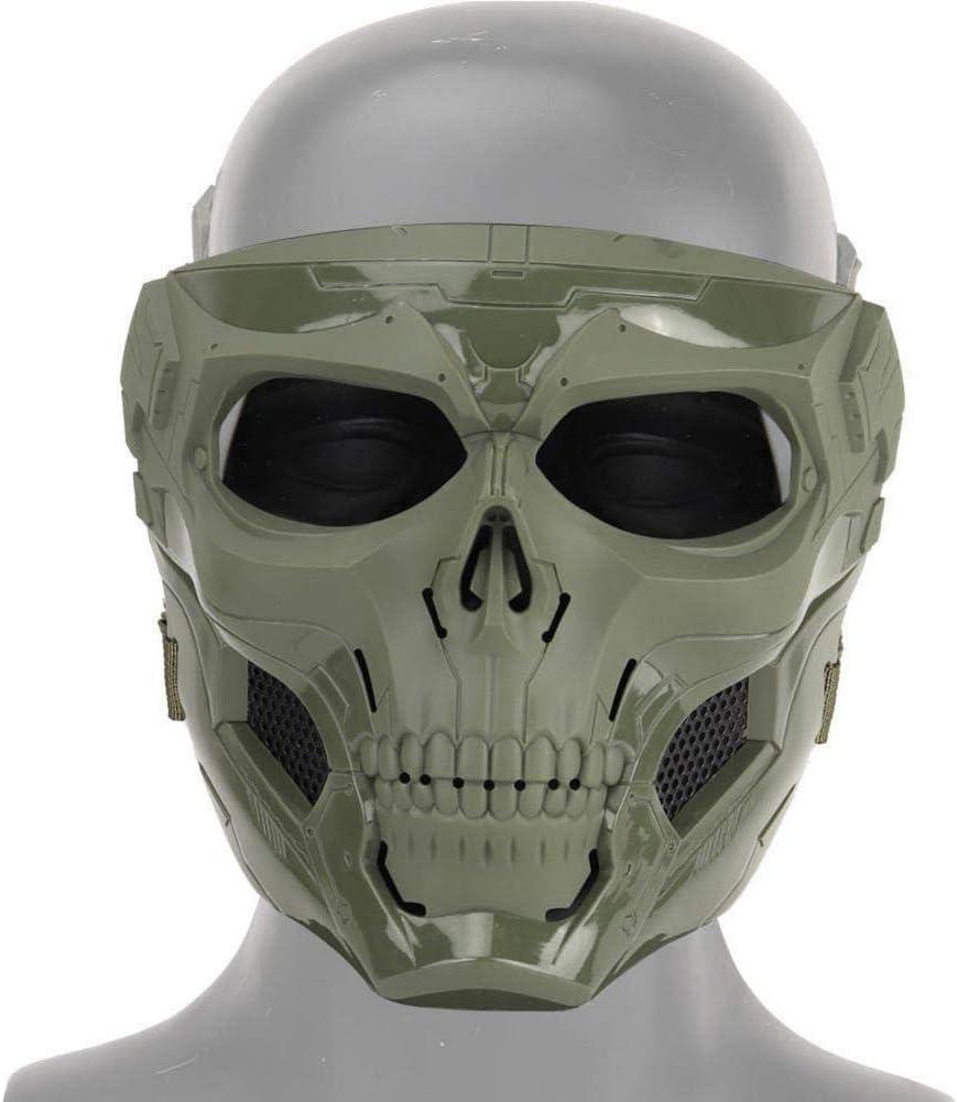 Hualieli - Máscara de Esqueleto para Halloween con máscara de Calavera, máscara de Camuflaje Militar, Casco frío con Esponja y Banda para la Cuerda para Actividades al Aire Libre
