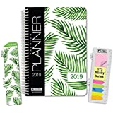 """HARDCOVER Calendar Year 2019 Planner: (November 2018 Through December 2019) 5.5""""x8"""" Daily Weekly Monthly Planner Yearly Agenda. Bonus Bookmark, Pocket Folder and Sticky Note Set (Palm Tree)"""