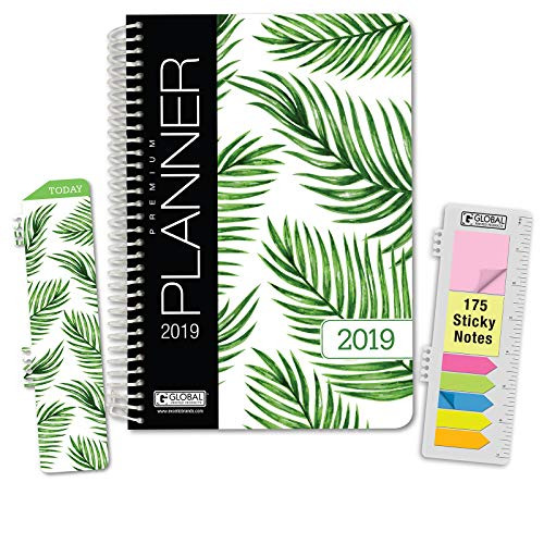 HARDCOVER Calendar Year 2019 Planner: (November 2018 Through December 2019) 5.5x8 Daily Weekly Monthly Planner Yearly Agenda. Bonus Bookmark, Pocket Folder and Sticky Note Set (Palm Tree)