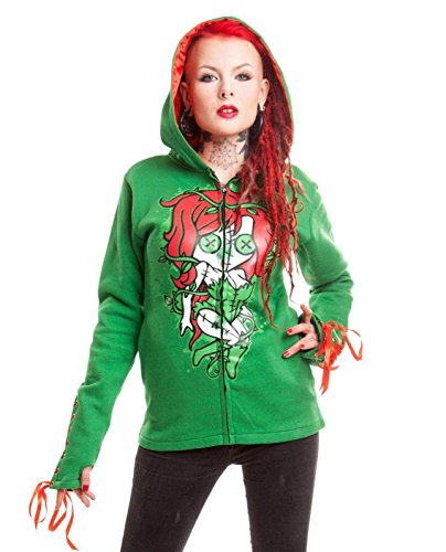 Cupcake Cult Poison Ivy Green Red Zip Corset Gothic Suicide Squad Hoodie 14-16