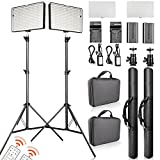 FOSITAN 2 Set LED Video Studio Lighting Kit, Bi-color 336 LED 3200K-5600K Dimmable 2350 Lux CRI 96+, 75 inches Light Stand, Rechargeable Battery+Charger, Power Adapter, 24W