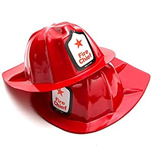 Rhode Island Novelty Plastic Firefighter Chief Hat (Set of 12)