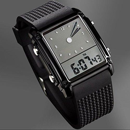 (Amyove Luxury New Sport LED Digital Date Men Women Waterproof Silicone Watch Wristwatch Black)