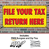 HALF PRICE BANNERS | File Your Tax Return Here Vinyl Banner | Indoor/Outdoor | 2'x6' Yellow | Free Ball Bungees & Zip Ties | Easy Hang Sign | Business Income Tax | Various Sizes | Made in USA