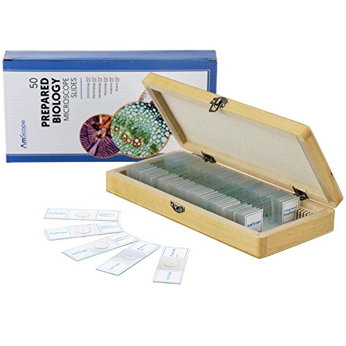 (AmScope PS50A Prepared Microscope Slide Set for Basic Biological Science Education, 50 Biology and Pathology Slides, Includes Fitted Wooden Case )