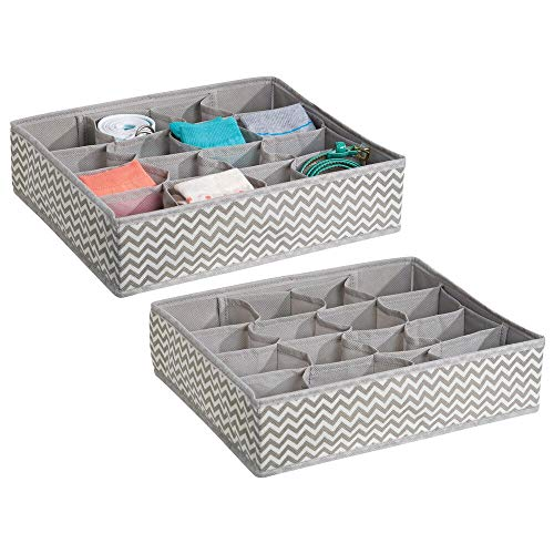 mDesign Fabric Dresser Drawer Storage Organizer for Underwear, Socks, Bras, Tights, Leggings - Pack of 2, 16 Compartments Each, Taupe/Natural