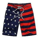 Kute 'n' Koo USA American Flag Big Boy's Swim Shorts, Patriotic Swim Trunks, Quick Dry Boys Bathing Suits (8, Blue and Red)