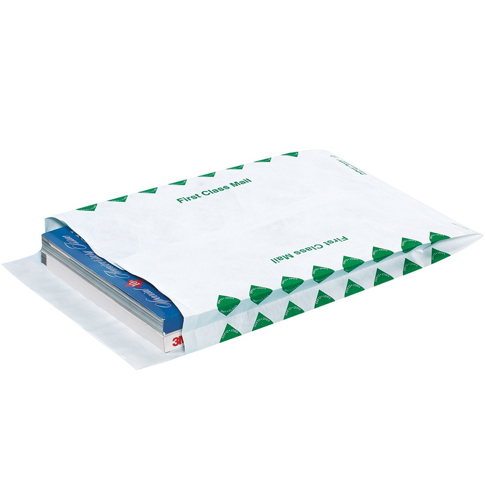 Quality Park TYE10131FC Tyvek Olefin First Class Expandable Envelope, 13'' Length x 10'' Width x 1-1/2'' Height (Case of 100)