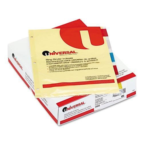 UNIVERSAL 20830 Economical Insertable Index, Multicolor Tabs, 5-Tab, Letter, Buff, 24 Sets/Box