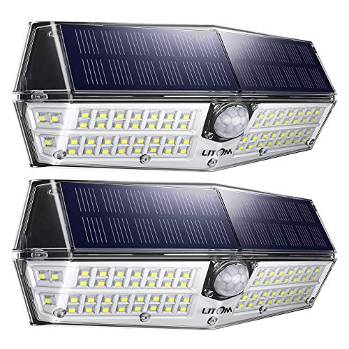 LITOM 66 LED Solar Lights Outdoor, Urgraded IP66 Waterproof Wireless Solar Motion Sensor Lights(White Light), 270°Wide Angle, Easy-to-Install Security Lights for Front Door, Yard, Garage, Deck-2 Pack
