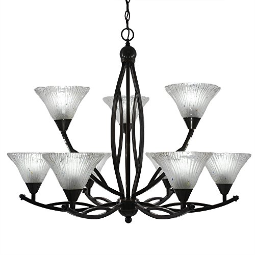Black Crystal Pendant Nine Light Chandelier in US - 6