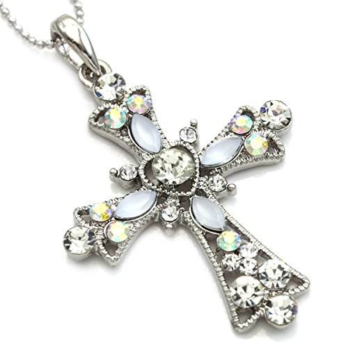 SoulBreezeCollection Christian Cross Necklace Heart Shape Pendant Chain Charm Designer Jewelry (Aurora Borealis)