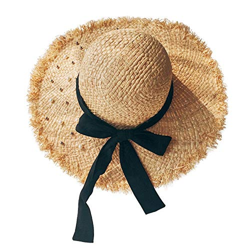 Sun hat Weave Straw Hat Ms Summer Pearl Shade Sun Protection Cap Sun Hat Collapsible Seaside Beach Vacation ()