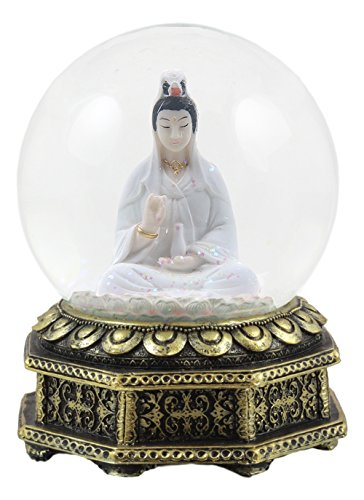 Ebros Eastern Enlightenment Buddha Meditating Goddess Kuan Yin Water Globe Collectible Figurine 6