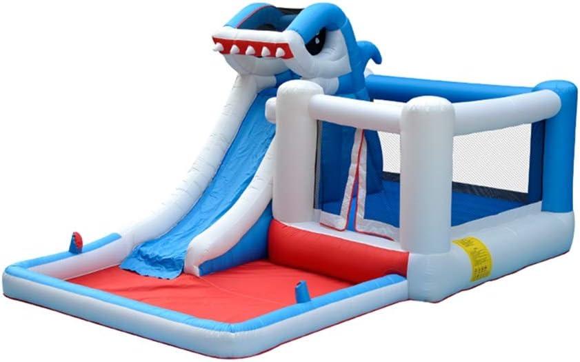 EXCLVEA Castillo Inflable Trampolín Niños Inflable Castillo Hinchable Casa Gorila con Parque acuático soplador con tobogán Rocódromo Área de la Piscina al Aire Libre for el jardín