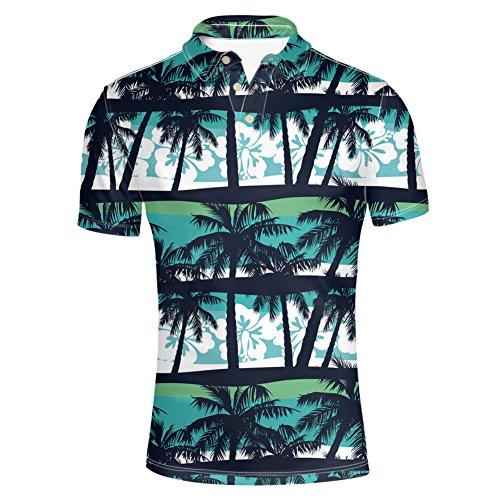 (HUGS IDEA Men's Hawaiian T-Shirt Fashion Golf Polos Shirt Palm Tree Print Summer Aloha Shirt Striped Short Sleeve)