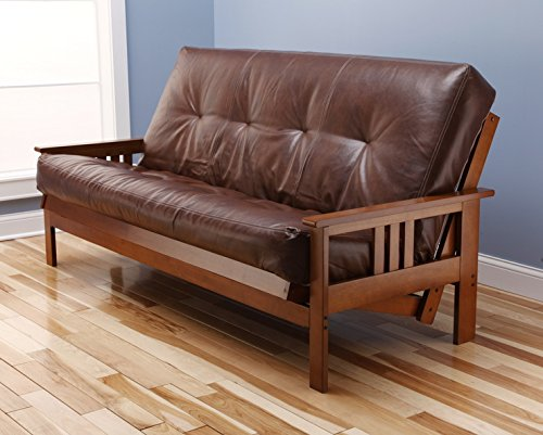 eldorado-futon-brown-finish-frame-w-coil-8-inch-mattress-full-size-sofa-bed-bonded-leather-saddle
