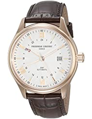 Frederique Constant Mens Classics Index Silver Dial Brown Leather Strap GMT Swiss Automatic Watch With Brown...