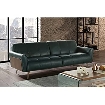 Natuzzi Editions Tobia Green Leather Sofa