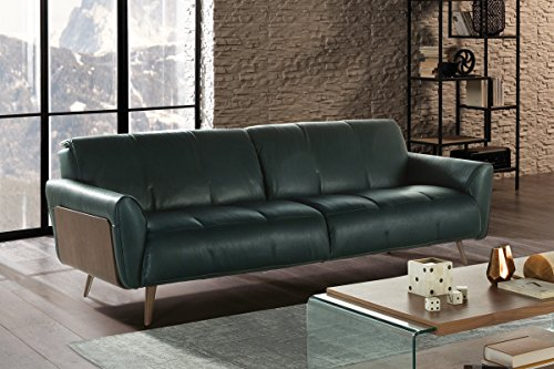 Natuzzi Editions Tobia Green Leather Sofa ()