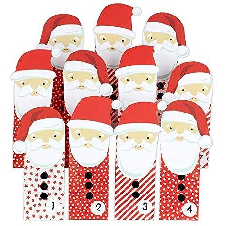 Creare Calendario Avvento.Papierdrachen Calendario Dell Avvento Fai Da Te Da Creare A Piacere Babbo Natale Rosso Calendario Dell Avvento Da Riempire