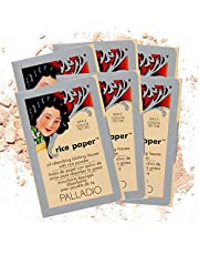 Palladio Rice Paper Tissues, Natural, 40 Sheets (Pack of 6), Face Blotting Sheets with Natural Rice Powder Absorbs Oil, Helps Skin Stay Looking Fresh and Smooth, Compact Size for Purse or Travel