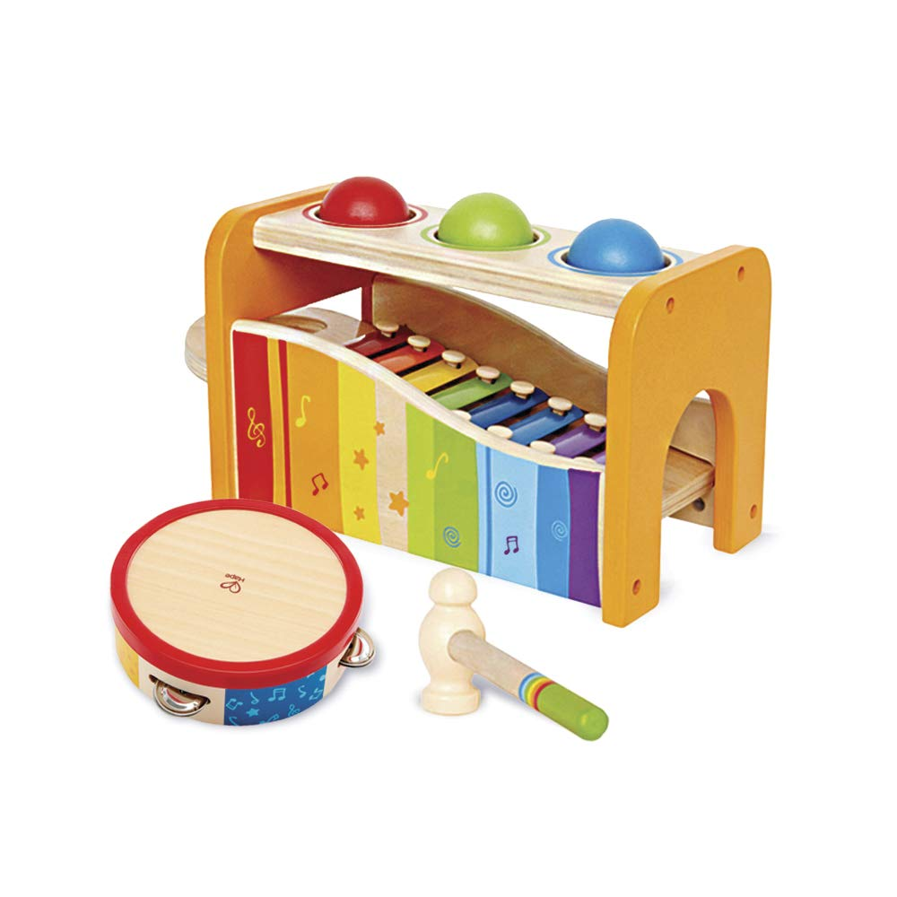 Hape Music Toys for Toddlers - Award Winning Wooden Pound and Tap Bench with Slide Out Xylophone and Tap Along Tambourine - Durable, Non-Toxic, Bright Colors