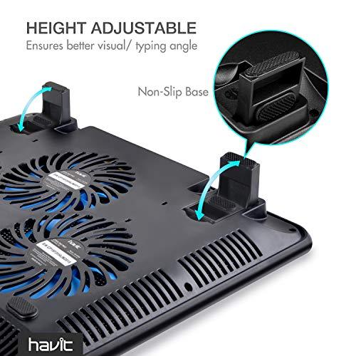 Havit HV-F2056 15.6''-17'' Laptop Cooler Cooling Pad - Slim Portable USB Powered (3 Fans) (Black+Blue) by Havit (Image #5)