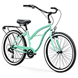 "sixthreezero Around The Block Women's 7-Speed Beach Cruiser Bicycle, 26"" Wheels, Mint Green with Black Seat and Grips"