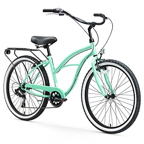 sixthreezero Around The Block Women's 7-Speed Cruiser Bicycle, Mint Green w/ Black Seat/Grips, 26