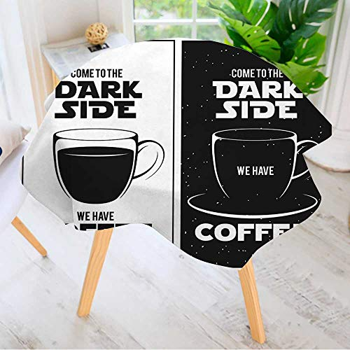 Leighhome Round Tables in Washable Polyester- Dark Side of Coffee Print Chalkboard Vintage Creative Trendy Design Element Tablecloth –Ideal for Home, Restaurants, Cafés 43.5