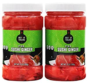Pickled Sushi Ginger - 2 Jars of 12-oz - Japanese Pickled Gari Sushi Ginger Kosher - By Best of Thailand