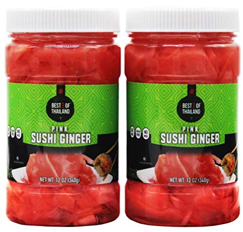 (Pickled Sushi Ginger - 2 Jars of 12-oz - Japanese Pink Pickled Gari Sushi Ginger Kosher, Fat Free, Sugar Free, No MSG - By Best of Thailand. )