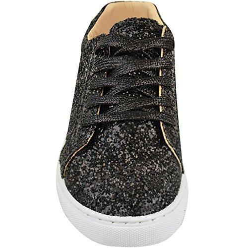 Zapatillas Mujeres Purpurina Damas Planos Brillante Zapatillas número Negro Cordones Brillo Con wcZ1qrCZ