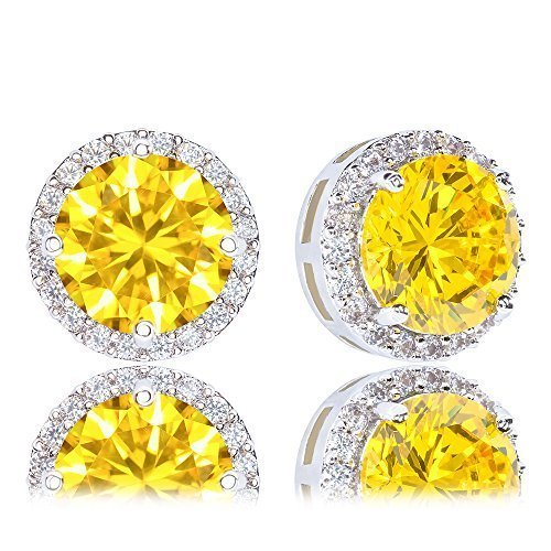 ORROUS & CO Womens 18K Gold Plated Cubic Zirconia Round Halo Stud Earrings, 3.45 Carats
