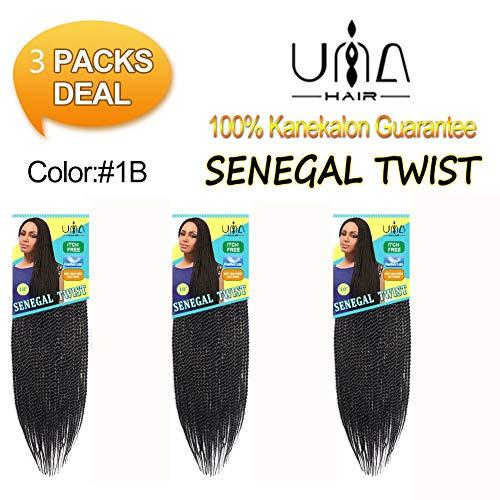 Una Una 18inch Senegalese Twist Crochet Hair Short Braids Small Havana Mambo Twist Crochet Braiding Hair Senegalese Twists Hairstyles For Black Women 27strands/pack (3pieces -18inch, 1b) ()