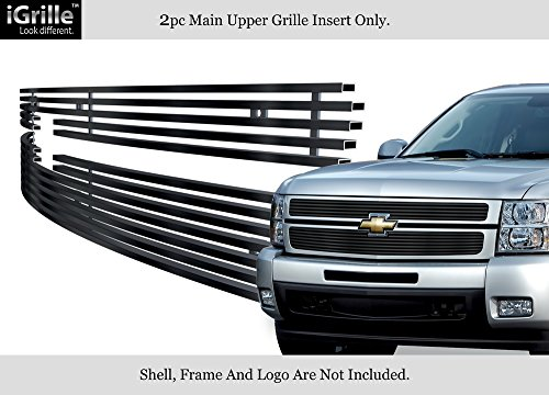APS Stainless Steel 304 Black Billet Grille Grill Custome Fits 2007-2013 Chevy Silverado 1500 (Hd Grille Grill Billet)